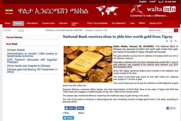 Walta Tigray gold news