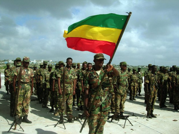 The first batch of Ethiopian troops leav